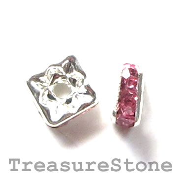 Spacer bead, silver plated brass, pink, 6mm square. Pkg of 5.