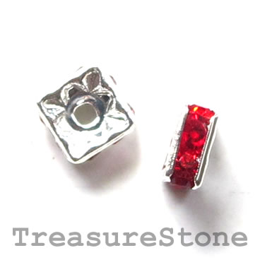 Spacer bead, silver plated brass, red, 6mm square. Pkg of 5.